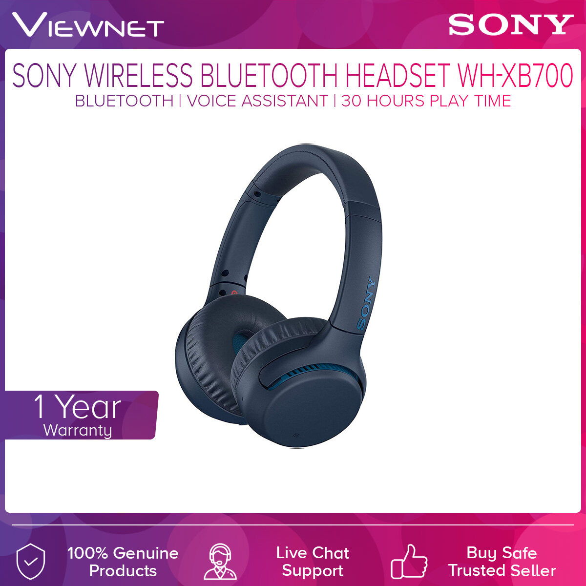 Sony WH-XB700 Wireless Bluetooth Headset Extra Bass with NFC,  30 Hour Play Time, Sleek Design And Long-Listen Comfort, Built-in Microphone, Voice Assistant, Headphone Connect