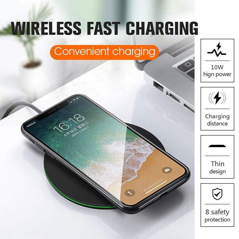 10W Qi WIRELESS Charger Fast ULTRA-thin Aluminum Alloy for iPhone Samsung - BLACK / RED / GOLD / SILVER
