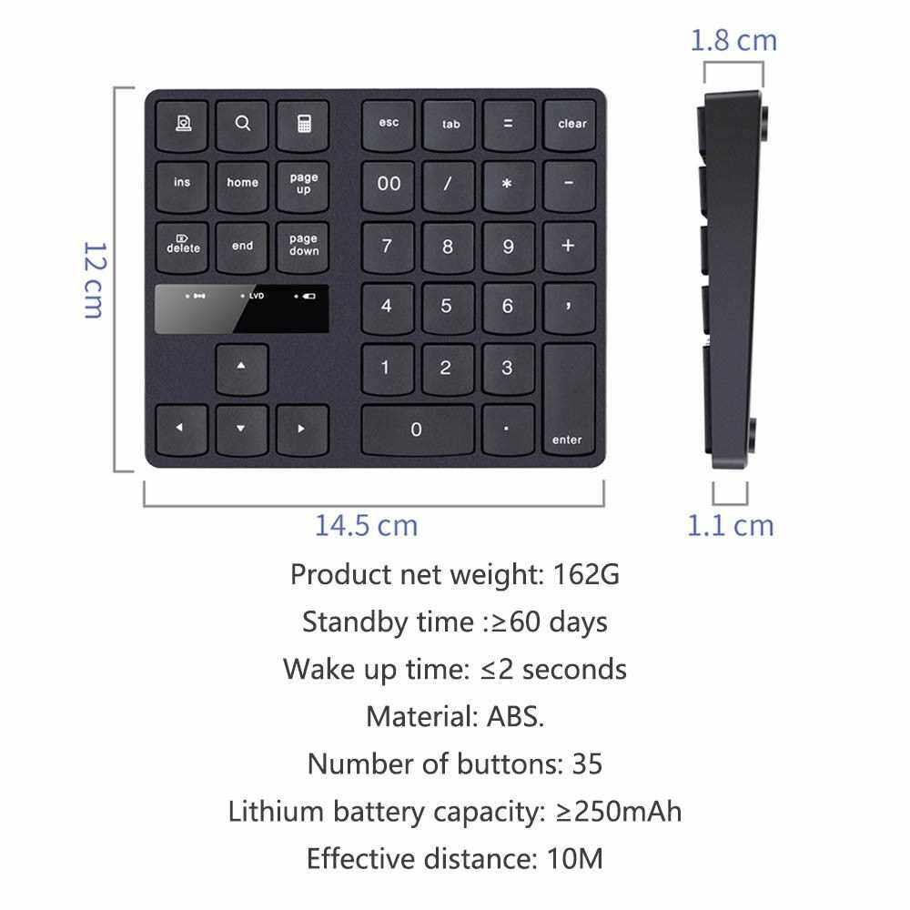 2.4G Wireless Digital Keyboard 35 Keys USB Numeric Keypad USB Charging Keyboard for Laptop PC Desktop Black (Black)