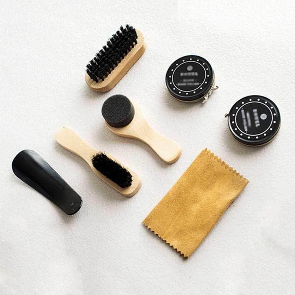 Best Selling Shoe Shine Care Kit Black & Transparent Polish Brush Set
