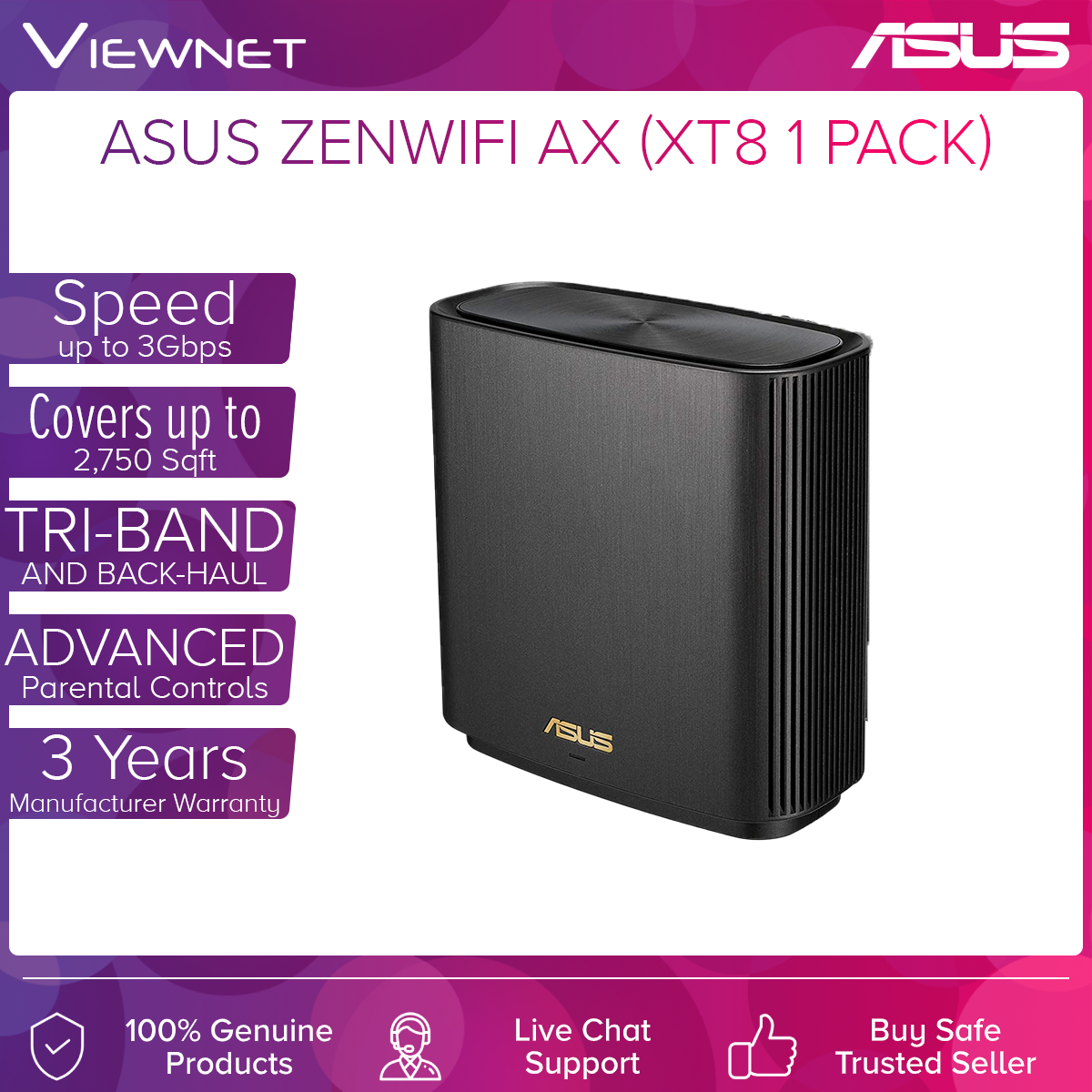 [🔥HOT MODEL] ASUS New Mesh ZenWiFi AX XT8 WiFi 6 Mesh WiFi System AiMesh (Single Pack)