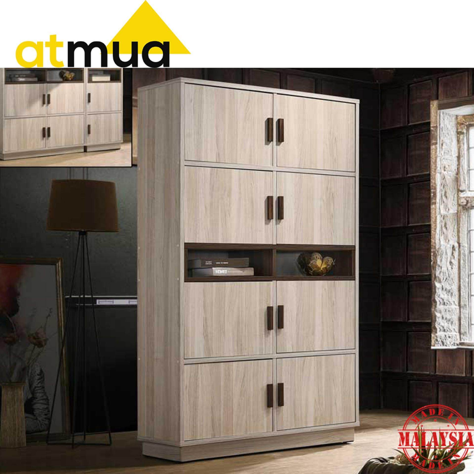 Atmua Tiso 8 Door Bookcase Storage Cabinet (Modern Design) [High Quality Hollow MDF Board]
