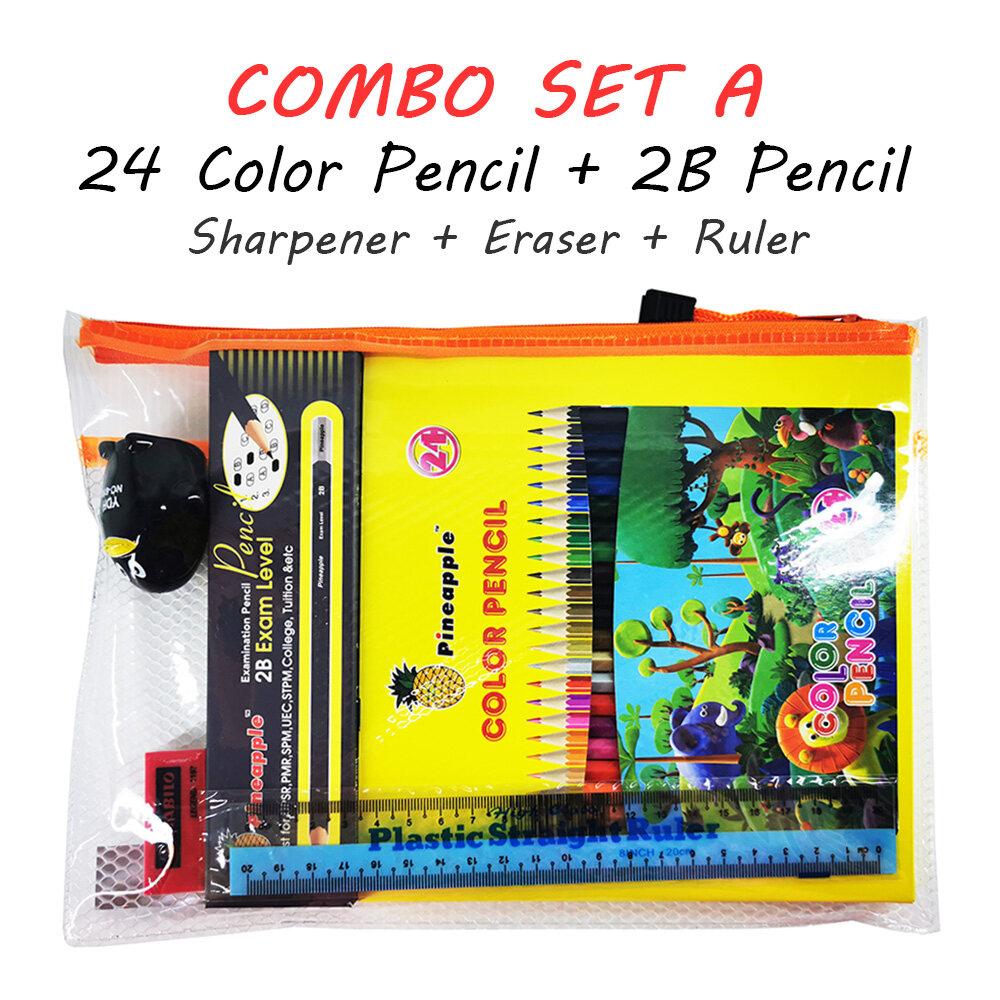 24 Colour Pencil + 2B Pencil Combo Set Sharpener Eraser Ruler Set Pack Stationery