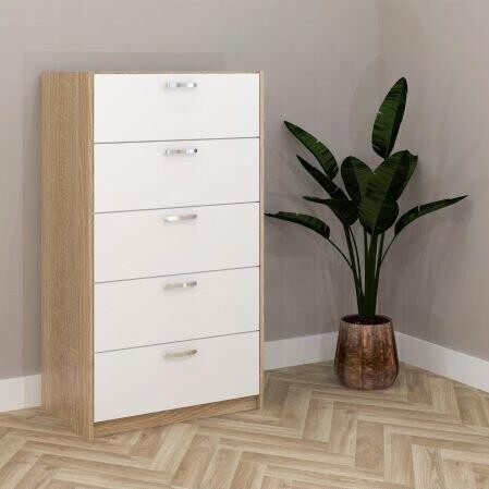 ESCOT 5 DRAWER CHEST- oak+white  COD - ESCOT5D -  WHT/OAK