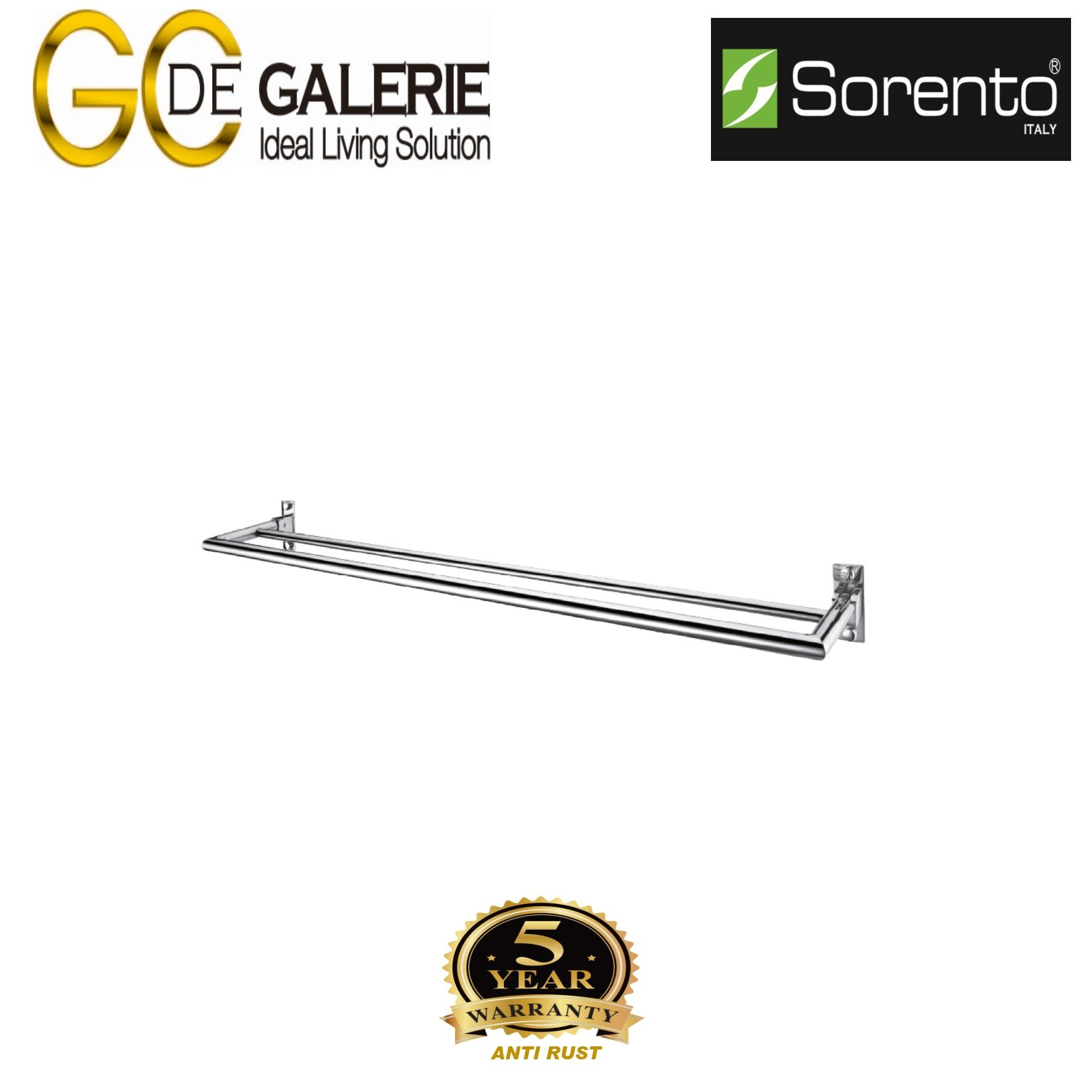 Sorento SRT692-32ST Bathroom/ Toilet Stainless Steel 304 Towel Bar- Double (Satin Finish)