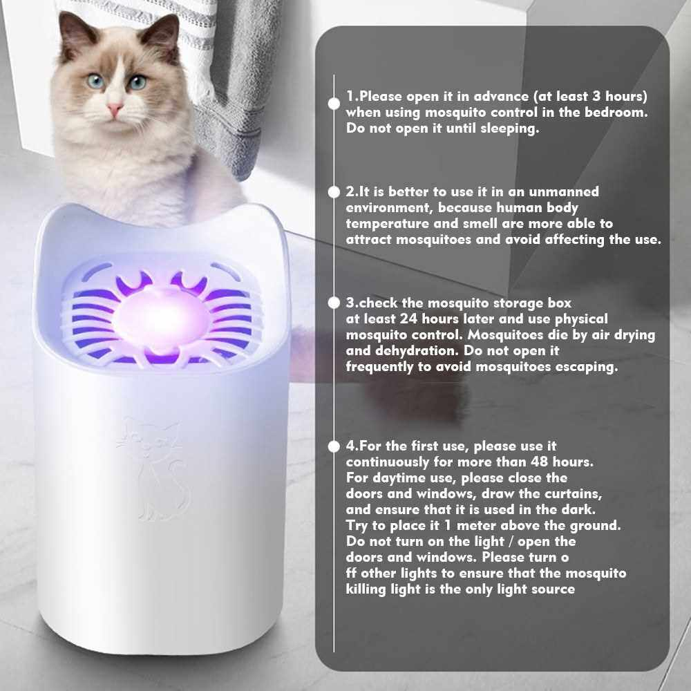 Electric Mosquito Killer USB Powered Mosquito Killing Lamp Bug Zapper Trap Lamp Eco-Friendly Inhalation Mute Insect-Repelling Lamp for Household, Office (White)
