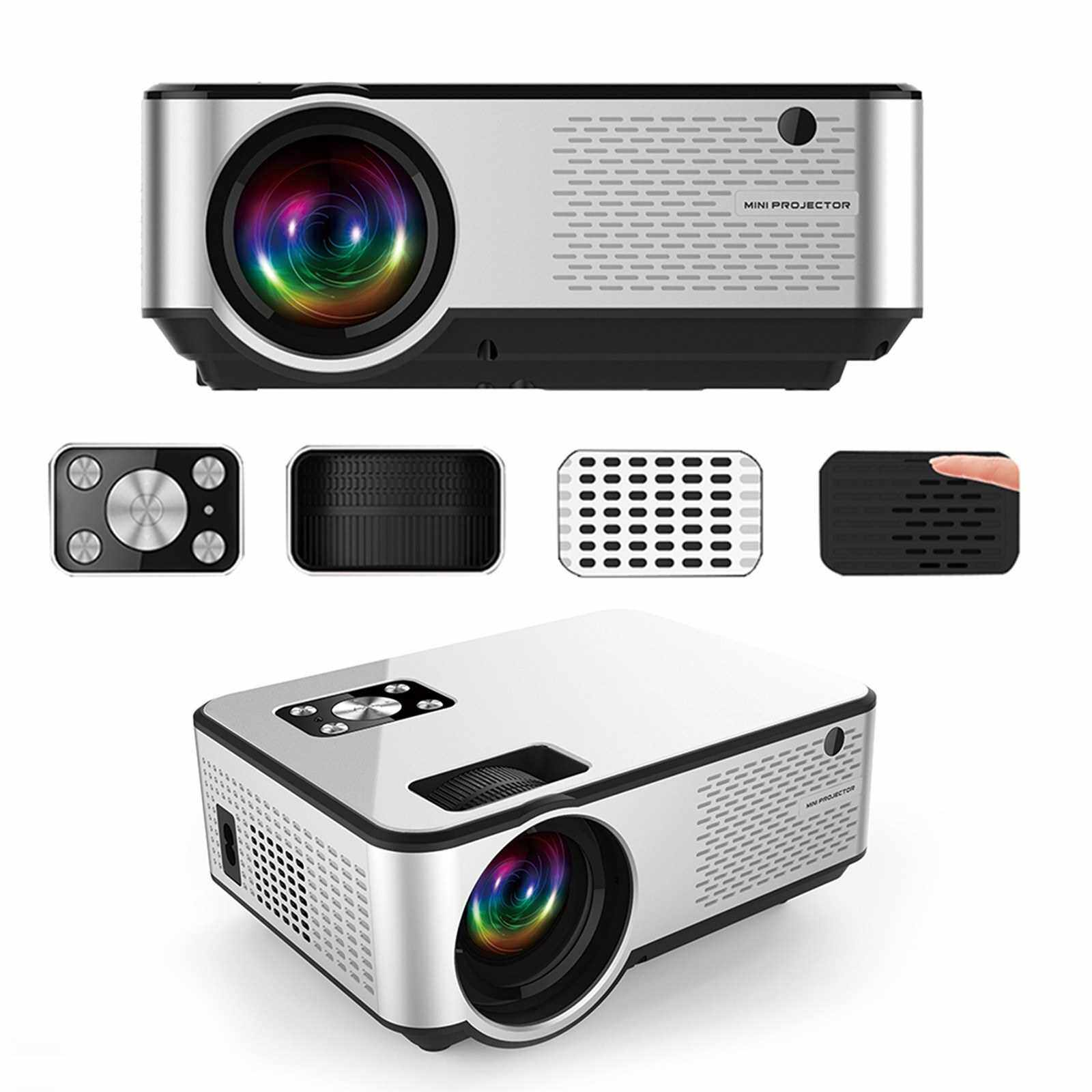 C9 LED Mini Projector 1280*720P Full HD Projector Video Beamer Home Theater Support HD USB AV VGA AUX Video Player (Us)