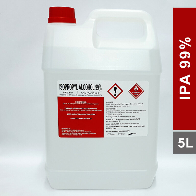 IPA / Isopropyl Alcohol 99.9% Purity / Rubbing Alcohol 5 Liters