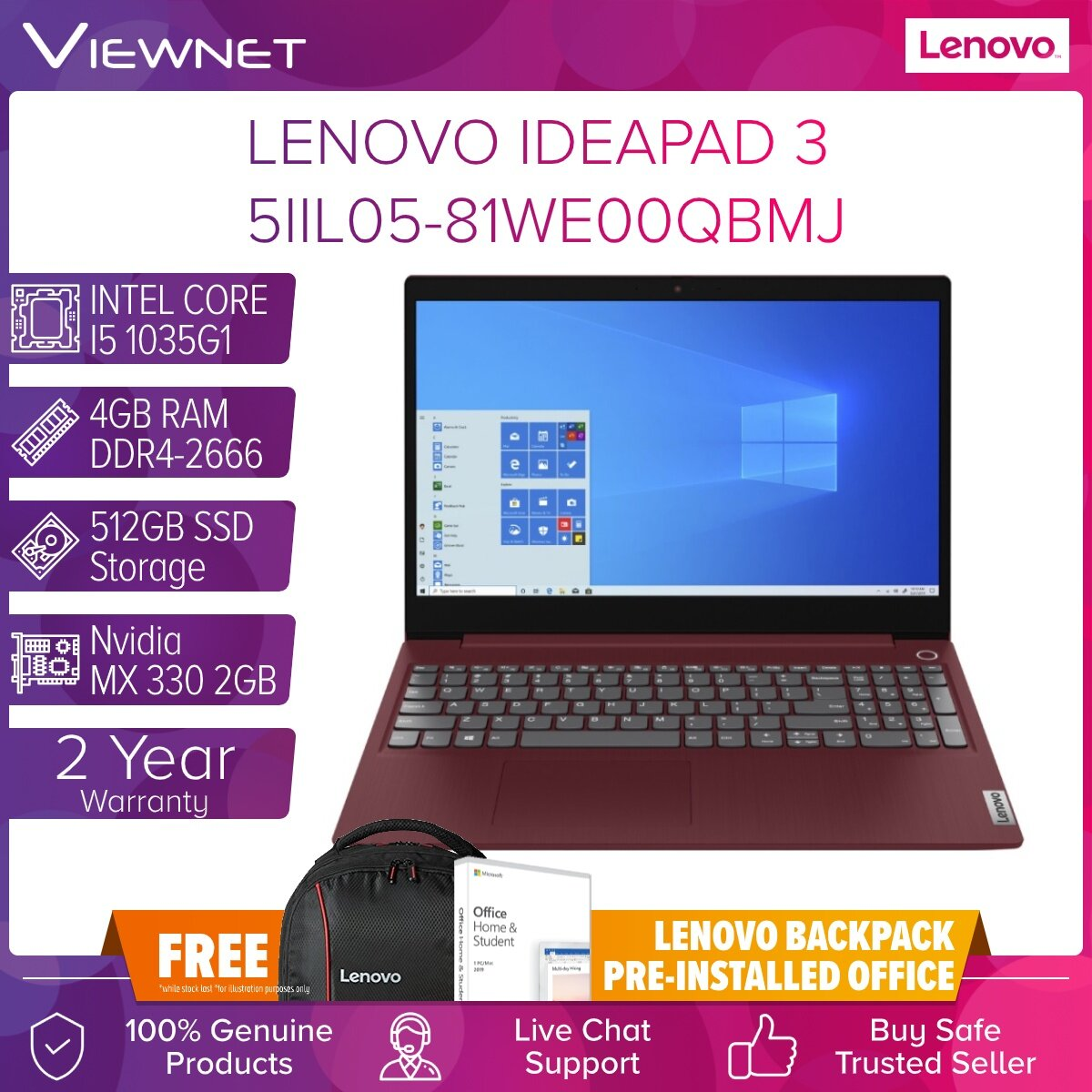 Lenovo IdeaPad 3 15IIL05 81WE00QAMJ, 81WE00QBMJ LAPTOP INTEL I5 1035G1 4GB DDR4 512GB SSD MX330 2GB 15.6