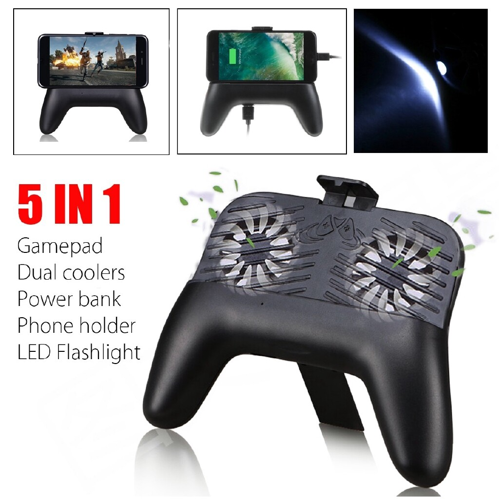 Phone Holder & Stand - Mobile Phone Gaming Gamepad Controller Joysticks w/ 2 Coolers For PUBG/Fortnite - Cases Covers