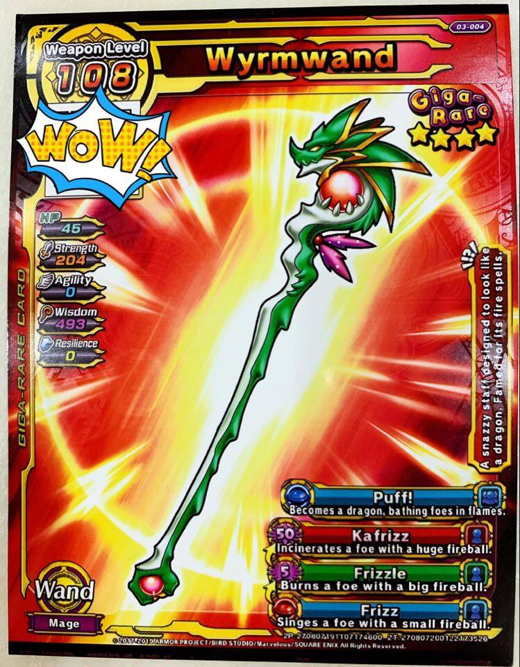 Dragon Quest 4* Giga Rare Wyrmwand Weapon Card