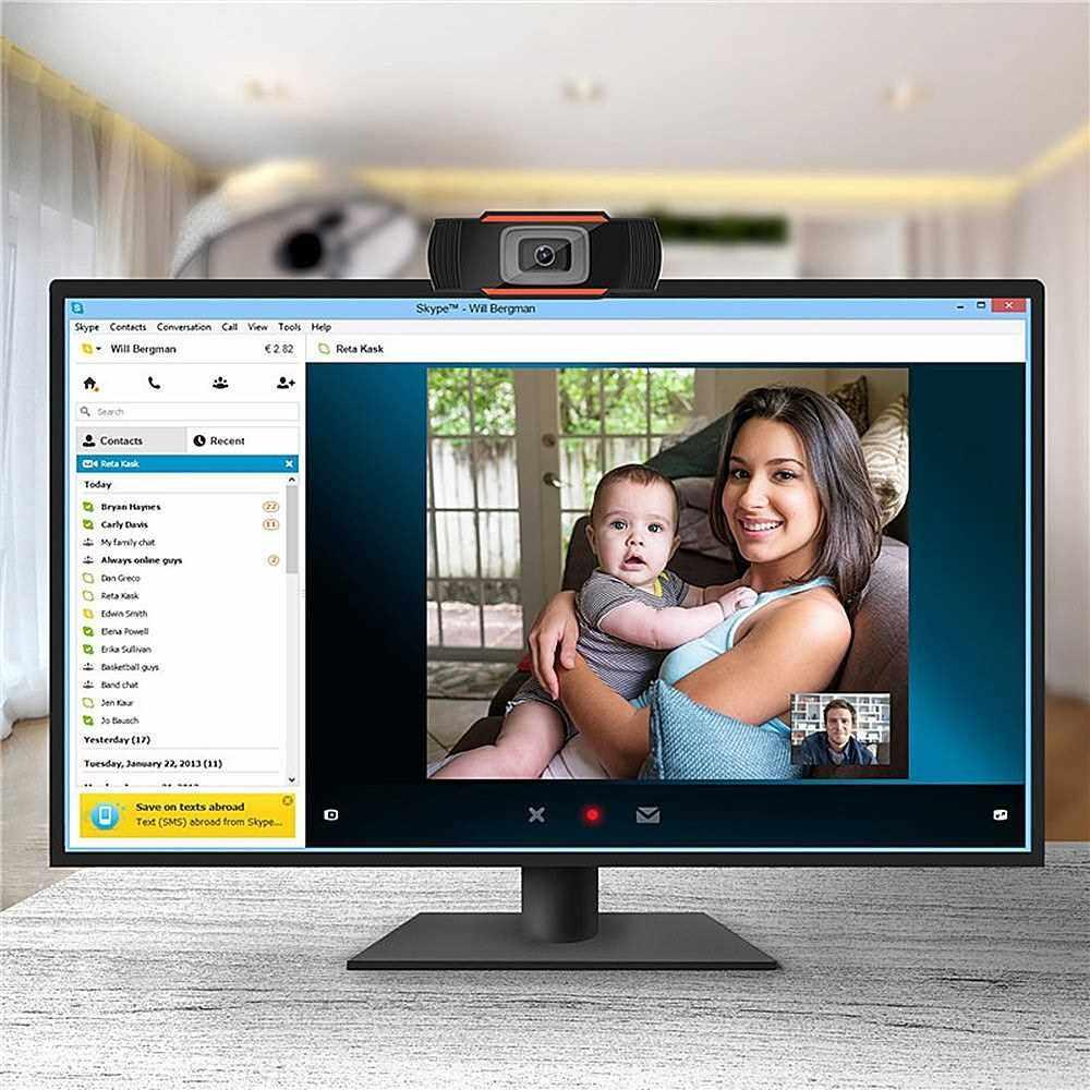 Best Selling 1080P 2MP Wide-Angle HD Webcam 30fps Auto Focusing Web Cam Noise-reduction MIC Laptop Computer Camera USB Plug & Play for Laptop Desktop (Black)
