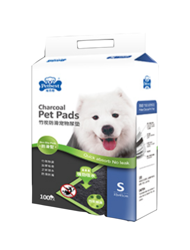 Petbest【宠百思】Non-Slip Charcoal Toilet Training Pet Pads / Wee Wee Pads / Urine Pads 防滑竹炭宠物尿垫 S Size (33cm x 45cm) 100pcs