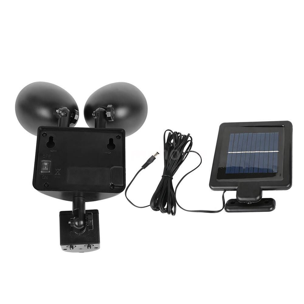 Outdoor Lighting - DC5.5V 3W 22LEDs Solar Powered Rotatable Adjustable Double Ends Security Wall Lamp IP55 Water - BLACK / WHITE