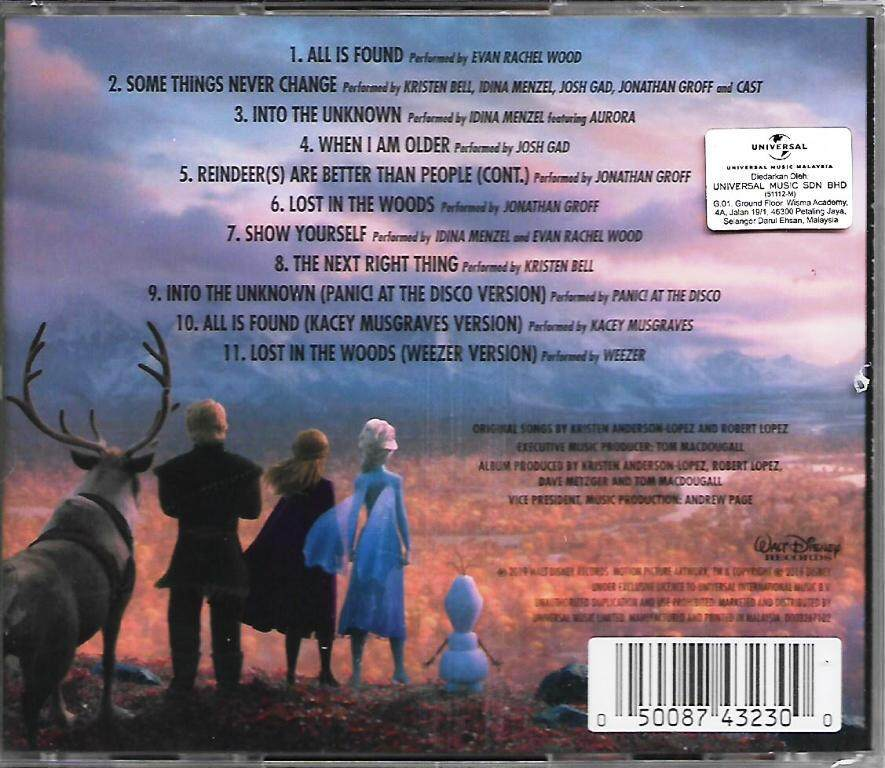 Disney Frozen II Original Movie Soundtrack CD Panic At The Disco / Kacey Musgraves / Weezer