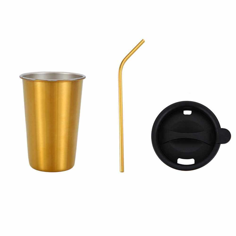 500ml 304 Stainless Steel Cup Coffee Mug Cold Drink Straw Lid Set Outdoor Camping Travel Picnic Juice Milk Tea Beer Cups (Gold)