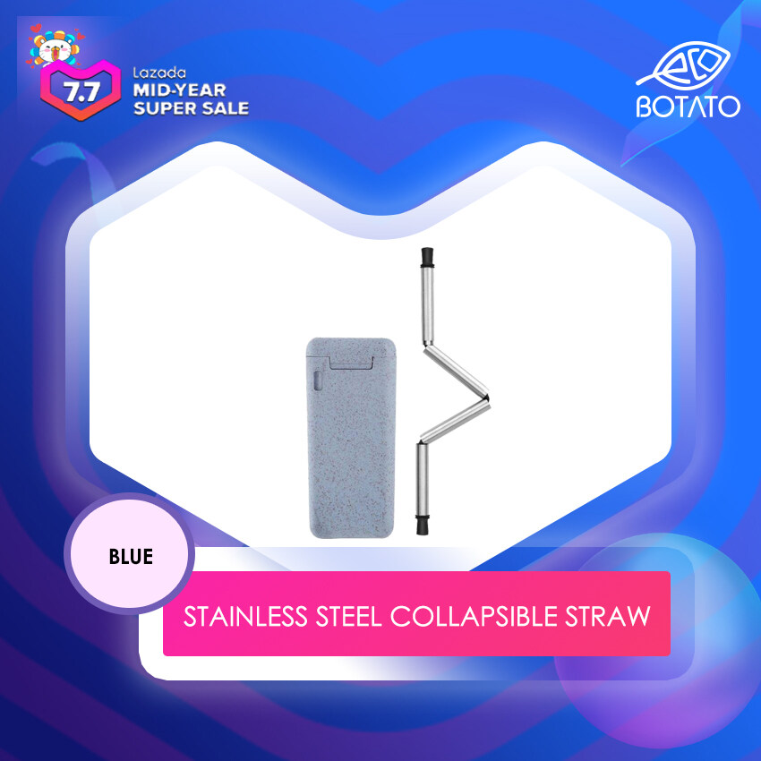 ([Ready Stock] Eco.Botato COLLAPSIBLE STRAW Free Brush, FDA Food Grade Silicone 100% 304 Stainless Steel Recycle ABS, Telescopic, Foldable Reusable Drinking/Beverage Tumbler Stainless Steel Bent Shape Eco Friendly)