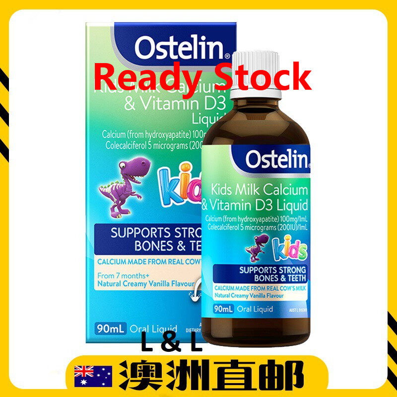 [Ready  Stock EXP: 09/2021yr] Ostelin Kids Milk Calcium & Vitamin D3 Liquid ( 90ml ) (Made In Australia)