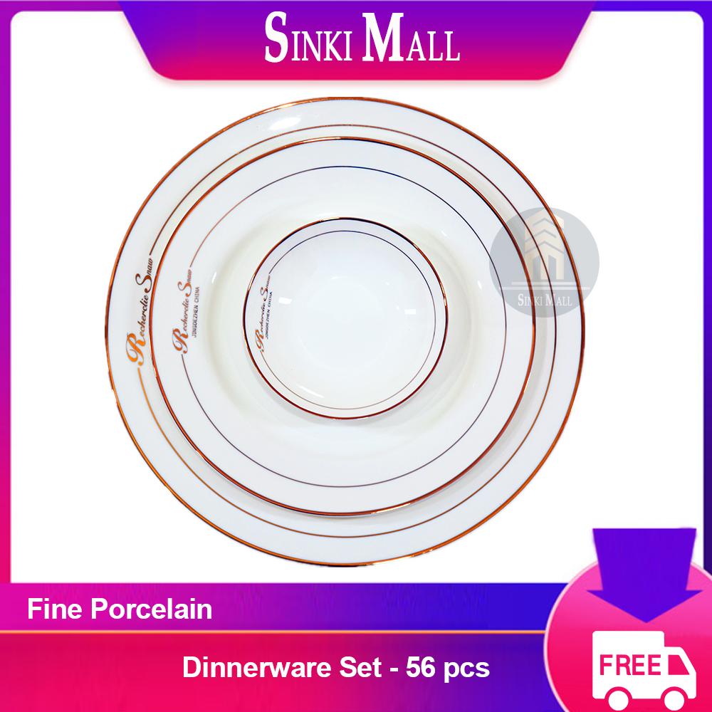 British Style Fine Porcelain 56Pcs Round Dinnerware Plate Set White + Word + Line + Simple