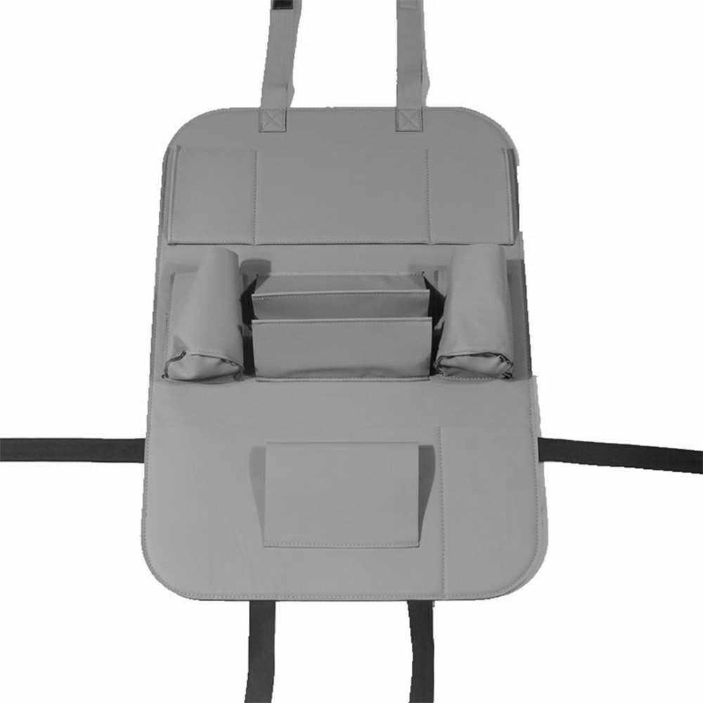 Pu Leather Car Seat Back Organizer Backseat Storage Box Grey (Grey)
