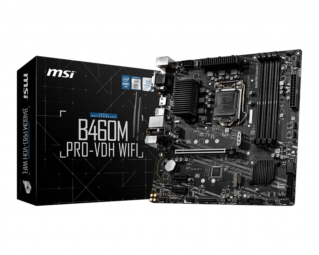 Msi B460M PRO-VDH WIFI Mainboard, Supports 10th Gen Intel® Core™ / Pentium® Celeron® processors for LGA 1200 socket Supports DDR4 Memory, up to 2933(Max) MHz