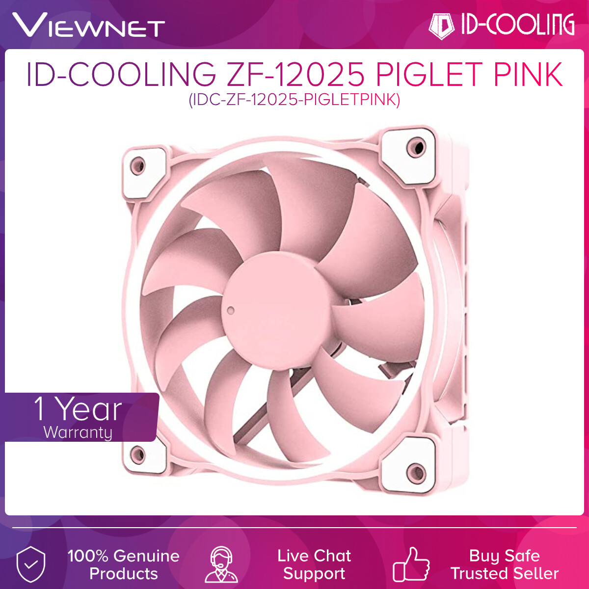 ID-Cooling ZF-12025 Piglet Pink 12cm Cooling Fan (IDC-ZF-12025-PigletPink)