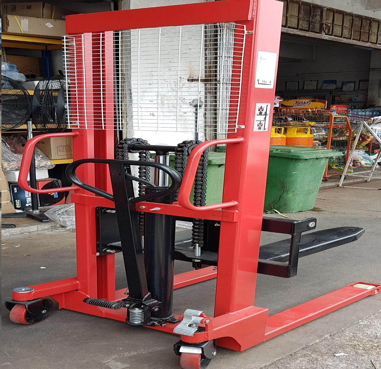 1.5 ton stacker heavy kg lift lifting pallet truck track side slide down up top fork pump jack trolley table hydraulic oil handle holder holding hold hand adjustable manual wheel roller roll rolling chain hoist long high height load length