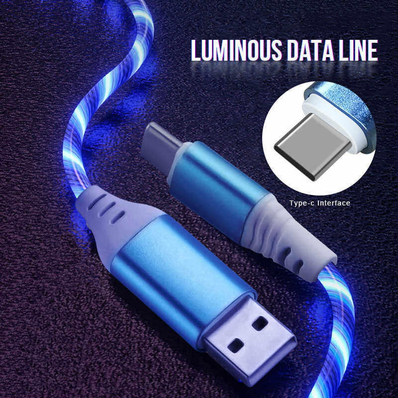 LED Light Flowing Visible USB Charger Charging Cable Cord for iPhone 8 7 6 X/XS Samsung S10 S9