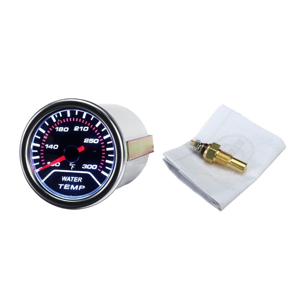 Gauges & Meters - Car Universal 52mm/2'' Water Temperature Gauge Meter Smoked Tint Fahrenheit LED - Car Accessories