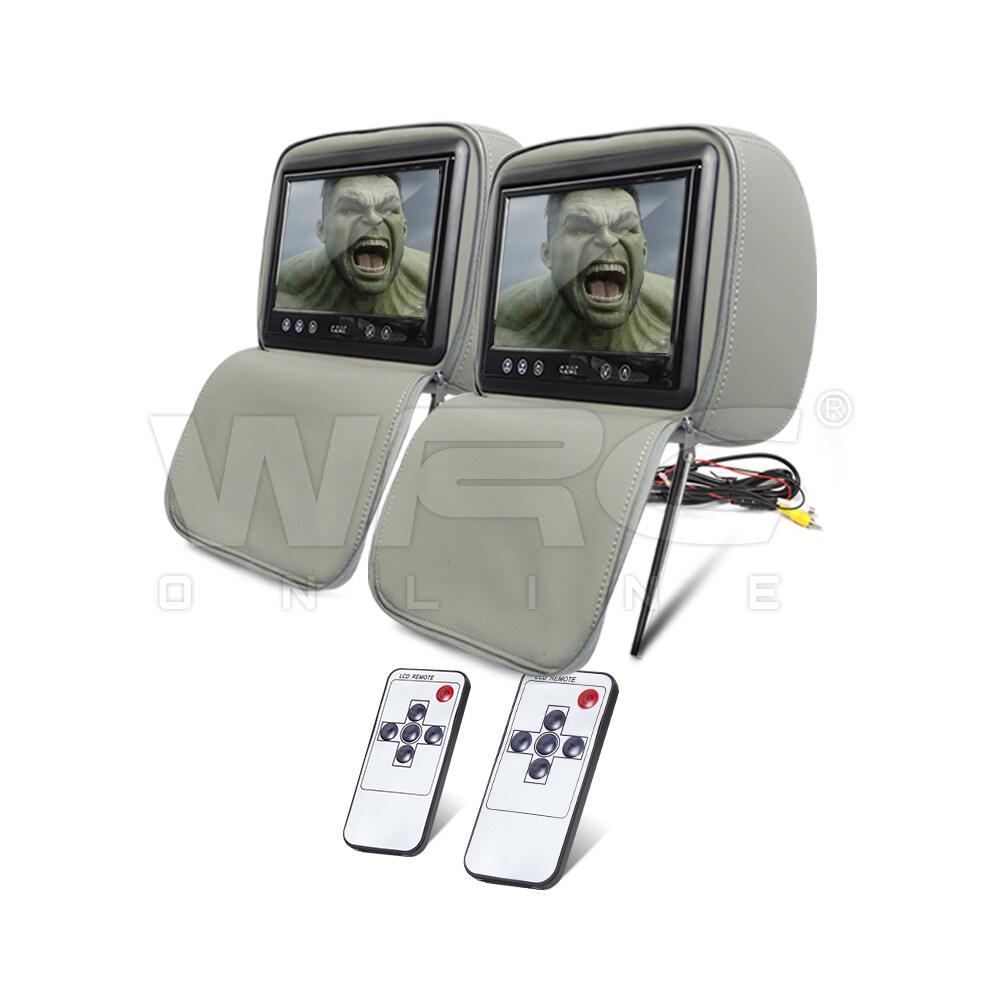 "AZUR AZ-HR7LG 9"" TFT LCD Grey Color Car DVD Player Leather Headrest Monitor"