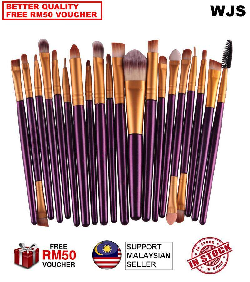 (HALAL BRUSH) WJS HALAL 20 pcs 20pcs Mini Make Up Brush Travel Set Makeup Brush Set Tools Makeup Toiletry for Travelling Portable Kit Purple Gold [FREE RM50 VOUCHER]