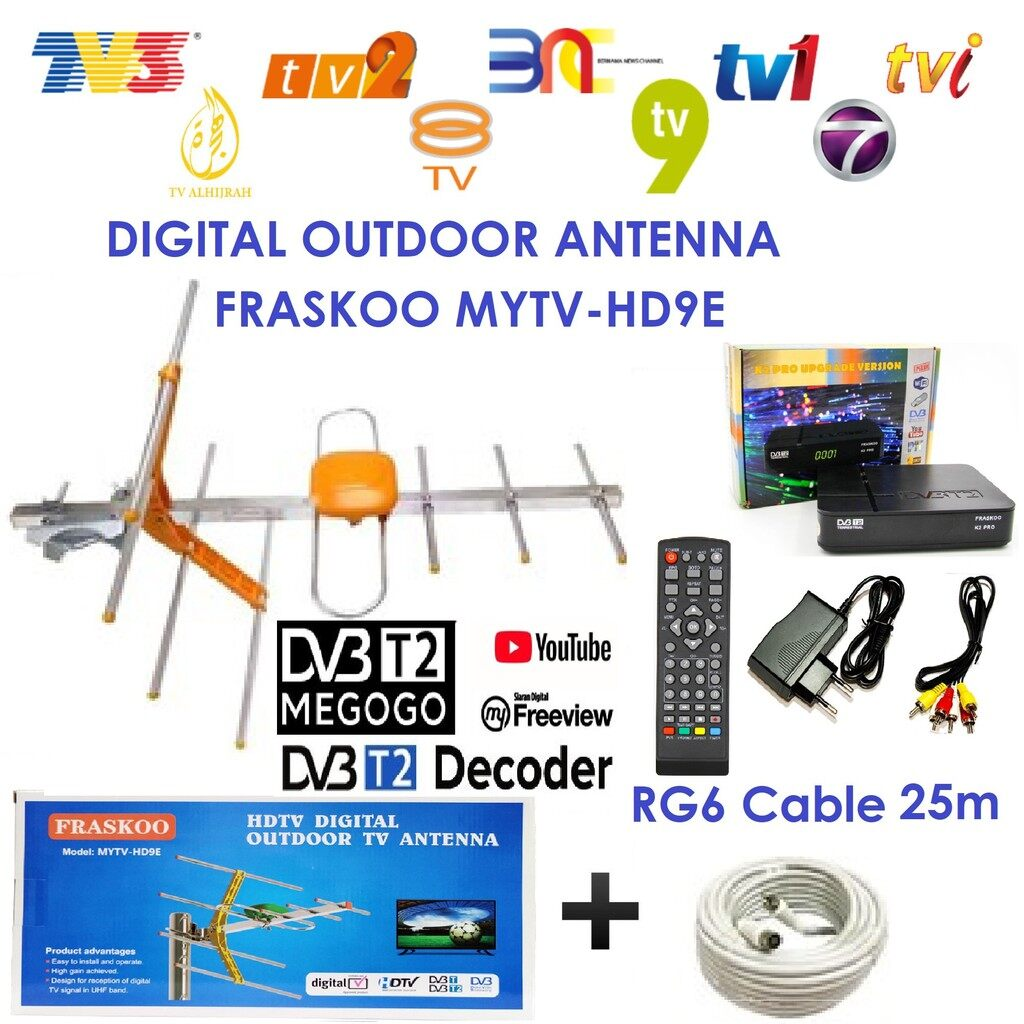 Fraskoo K2 Pro with 8 Element UHF MYTV HD9E Antenna with 25m Cable