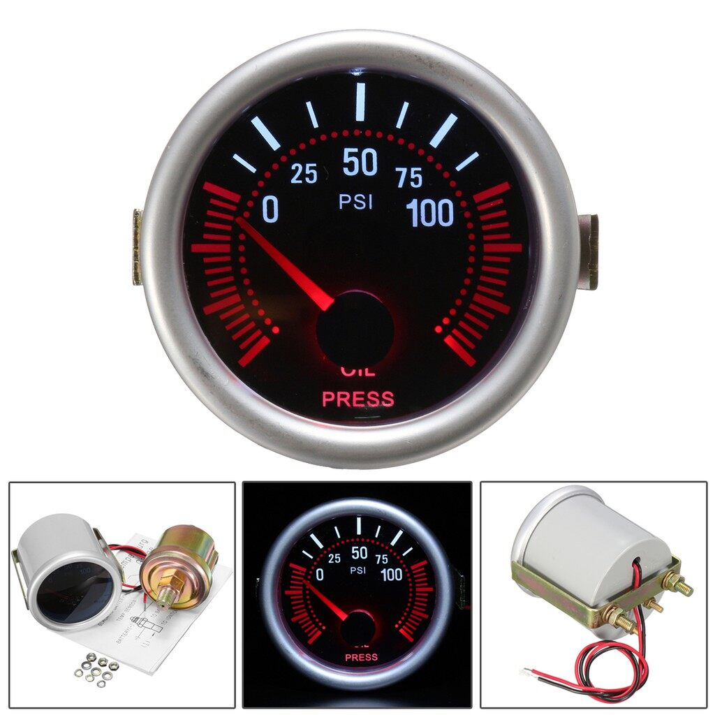 Tyres & Wheels - Universal 2\'\' 52mm Auto Car LED LCD Digital Oil Pressure Meter Gauge Face Black - Car Replacement Parts