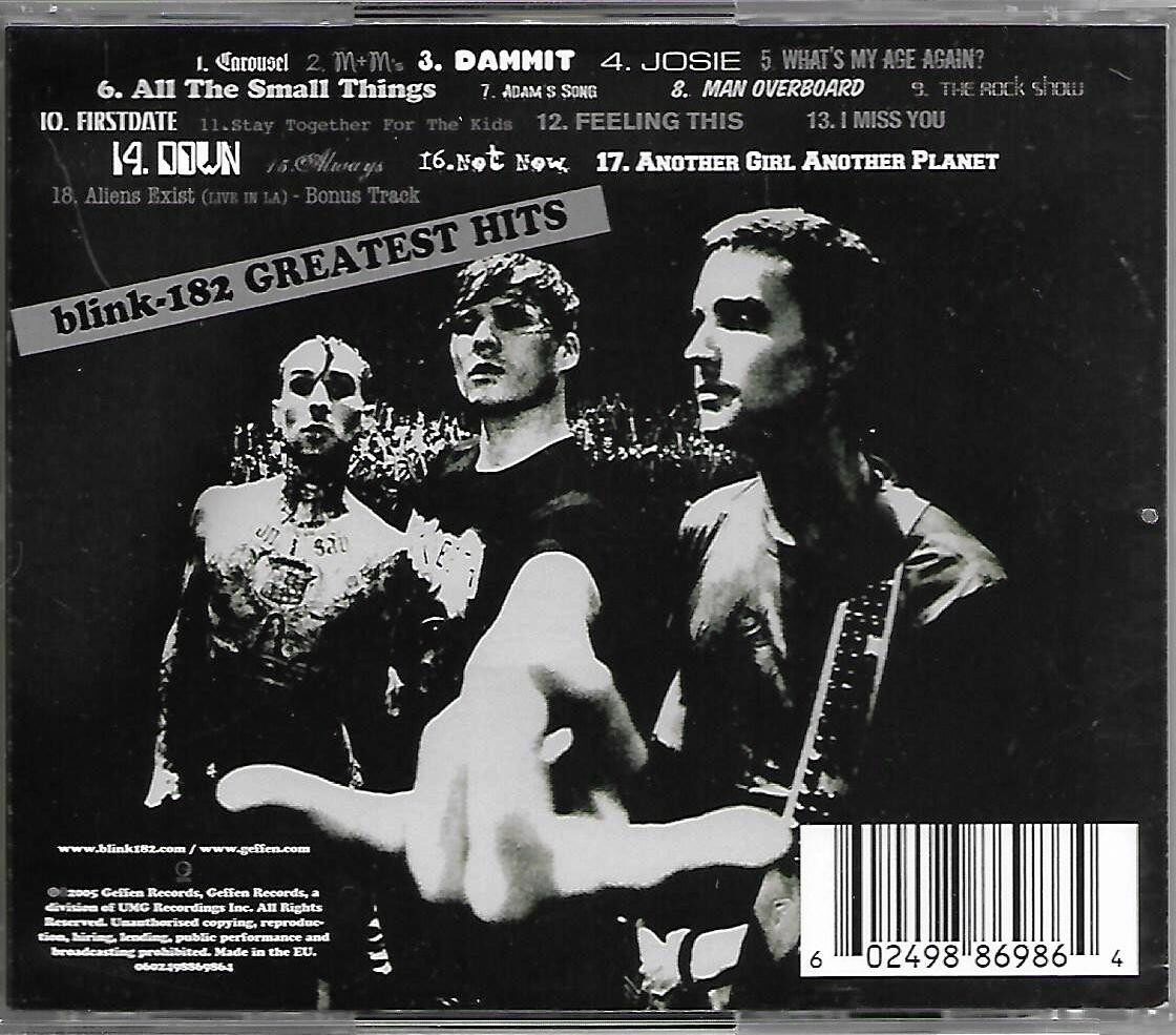 Blink-182 Greatest Hits Blink 182 Imported CD EU Pressed Parental Advisory Explicit Content