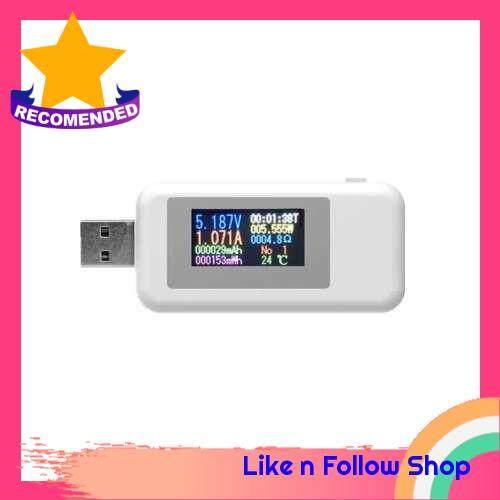 KWS-MX18 10 in1 Digital LCD Display USB Tester Voltage Current Tester Power Meter Timing Ammeter USB Charger Tester Detector Voltmeter (White)