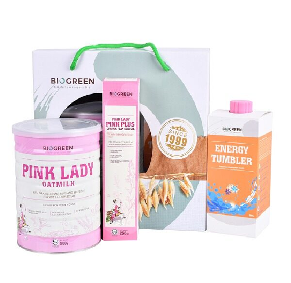 Biogreen Skin Hydration Package [Pink Lady Oatmilk 800g (HALAL) + Pink Plus Flaxseed Oil 250ml]
