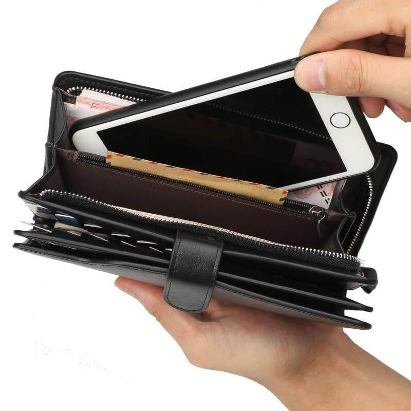 [M\'sia Warehouse Direct] 2019 Korean Series Men\'s Leather Clutch Bag With String Fengshui Long Wallet Can Fit Iphone Any Android Mobile Long Purse Perfect Gift For Husband And Father Multifunctional Portable Bag Card Holder Dompet Panjang Kulit Halal