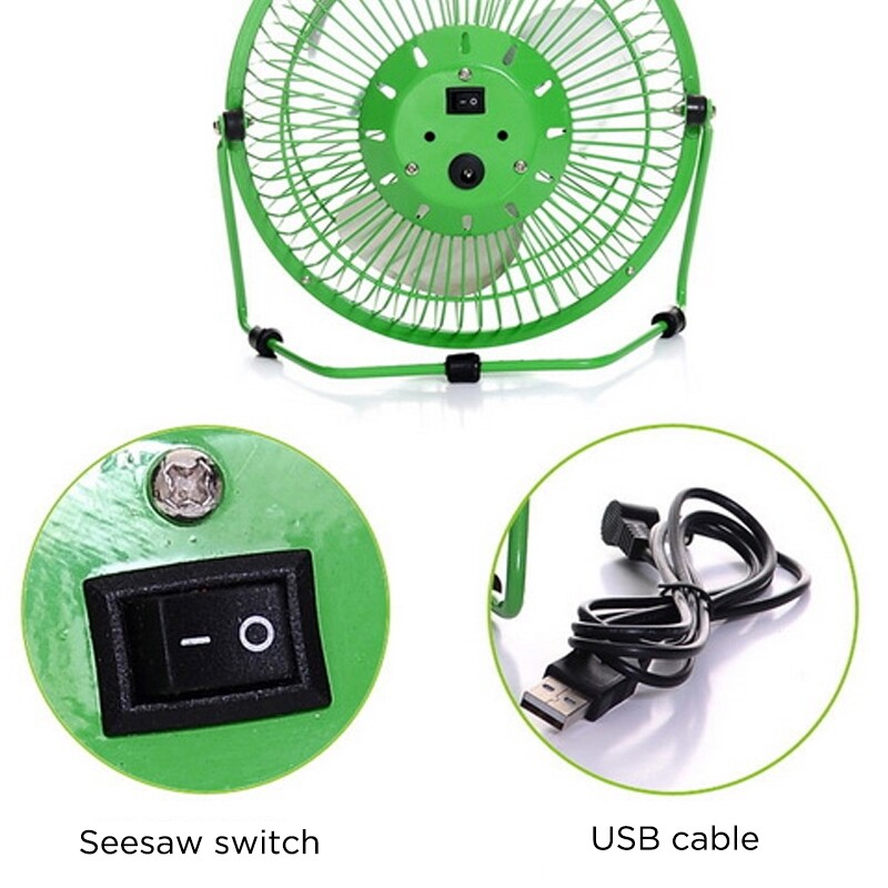 USB Fan - MINI USB Desk Fan Small Quiet Personal Cooler USB Powered PORTABLE Table Desk - GREEN / BLACK / PINK / BLUE