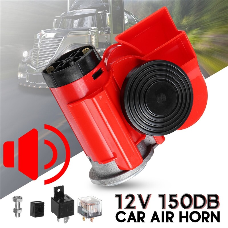 Car Lights - Air Horn 12V 150DB Car Motorcycle Truck Lorry SUV RV Train Boat Twin Tone Loud - Replacement Parts