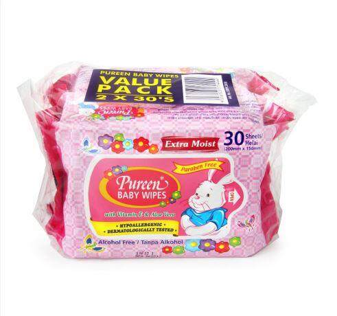PUREEN BABY WIPES 2X30S [PINK]