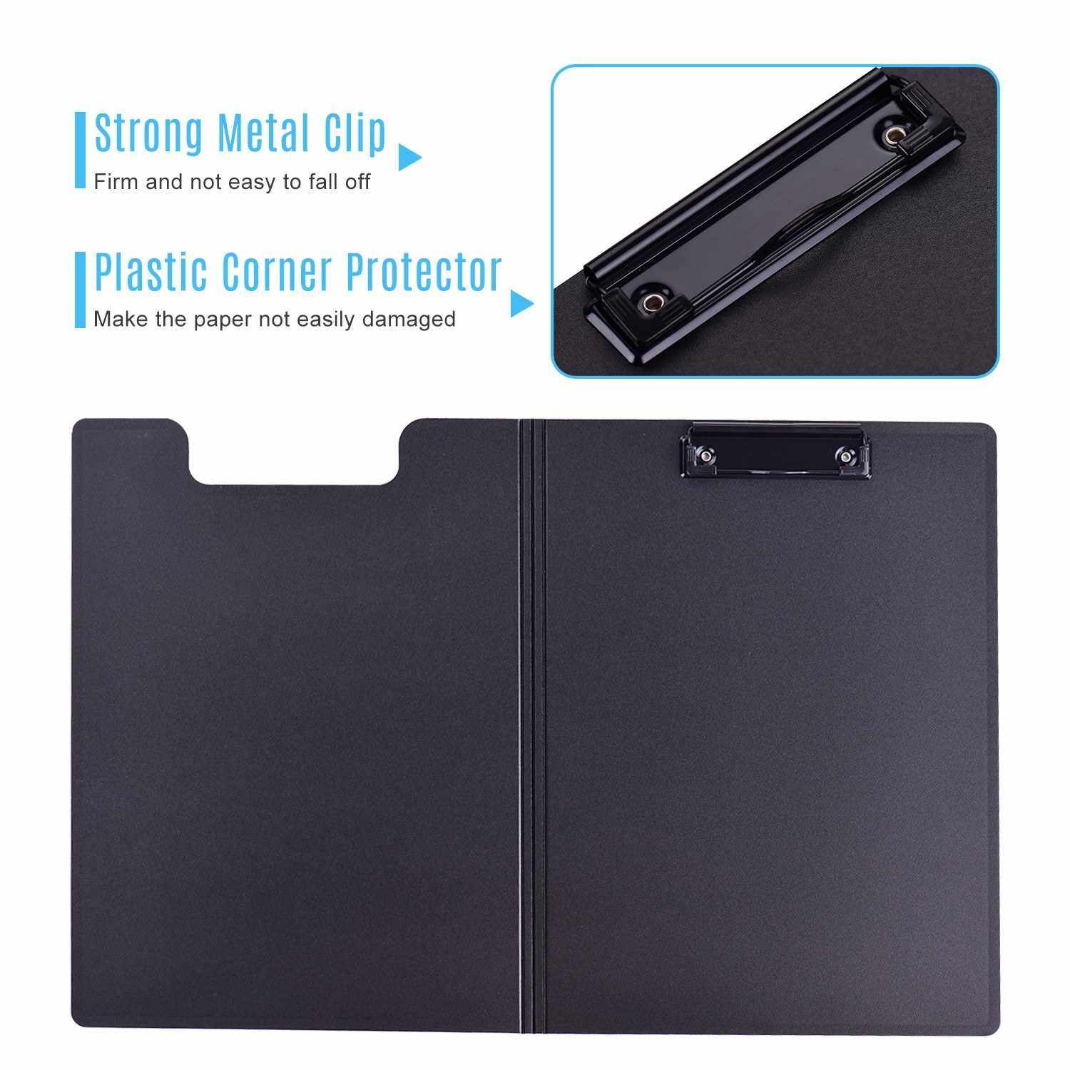 A4 Letter Size Clipboard Colorful File Cover Folder Document Organizer Storage Writing Pad Stationery for School Office Business Meeting (Light Blue)