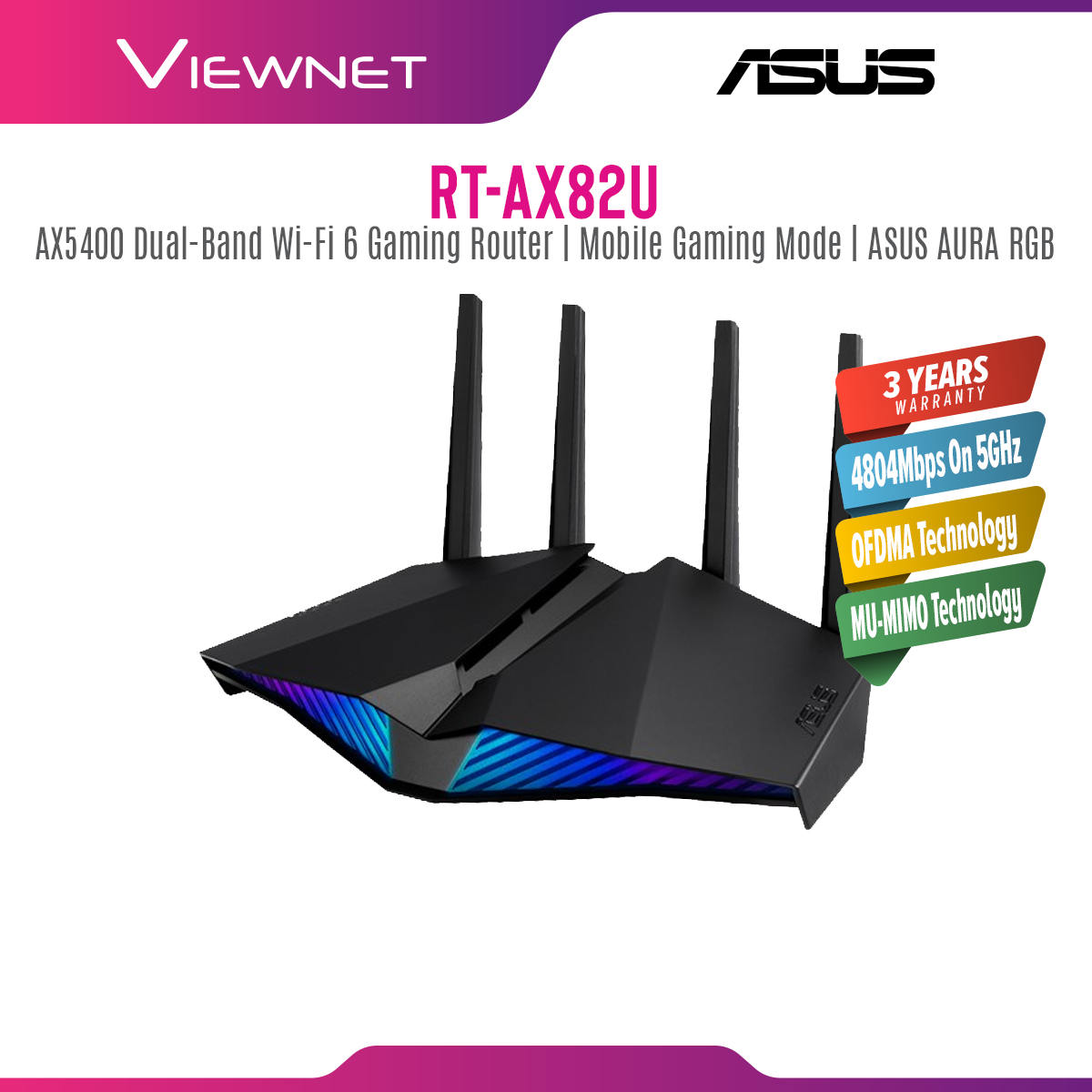 ASUS Gaming Router RGB RT-AX82U AX5400 Wi-Fi 6 Router 160Mhz Lifetime Anti Virus