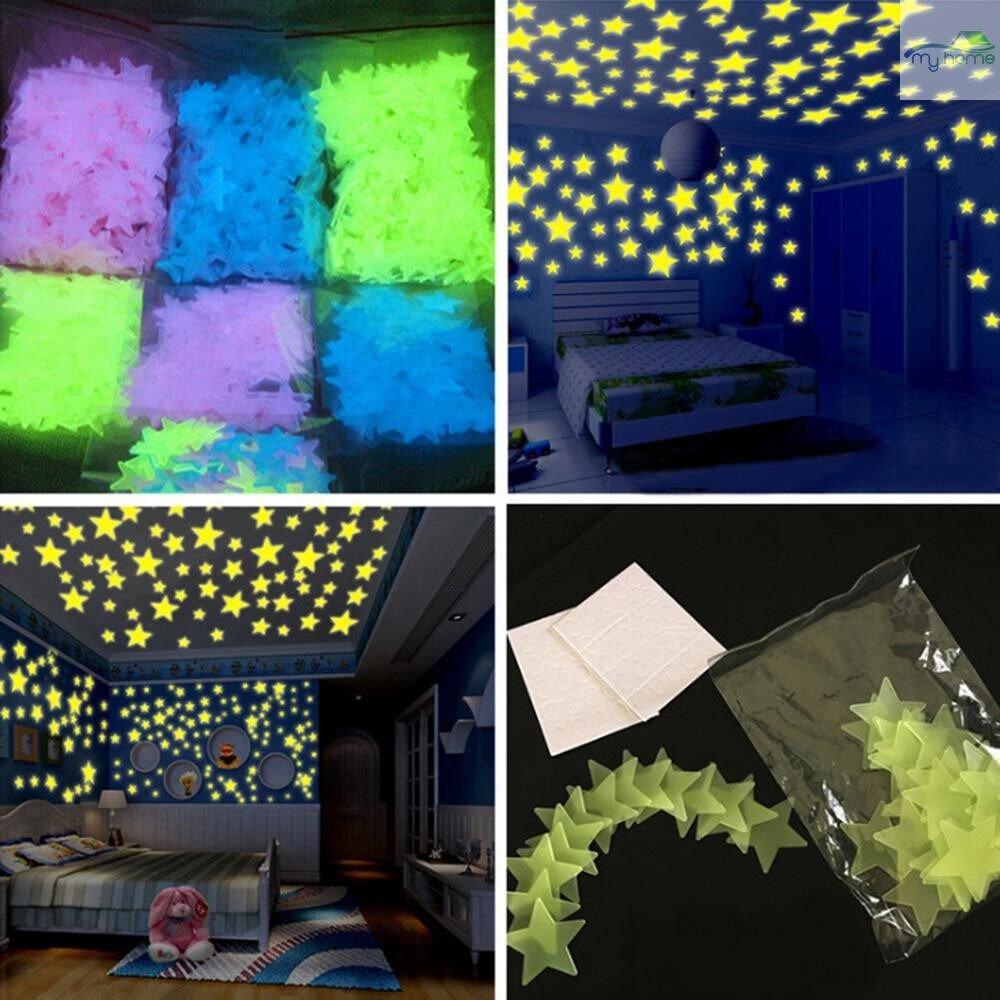 Mirrors & Wall Art - 100 PIECE(s) Gorgeous Night-luminous Fluorescent Glow Stars Stickers Home Decor Wall Sticker for Kids - MULTICOLOR / BLUE / YELLOW / PINK