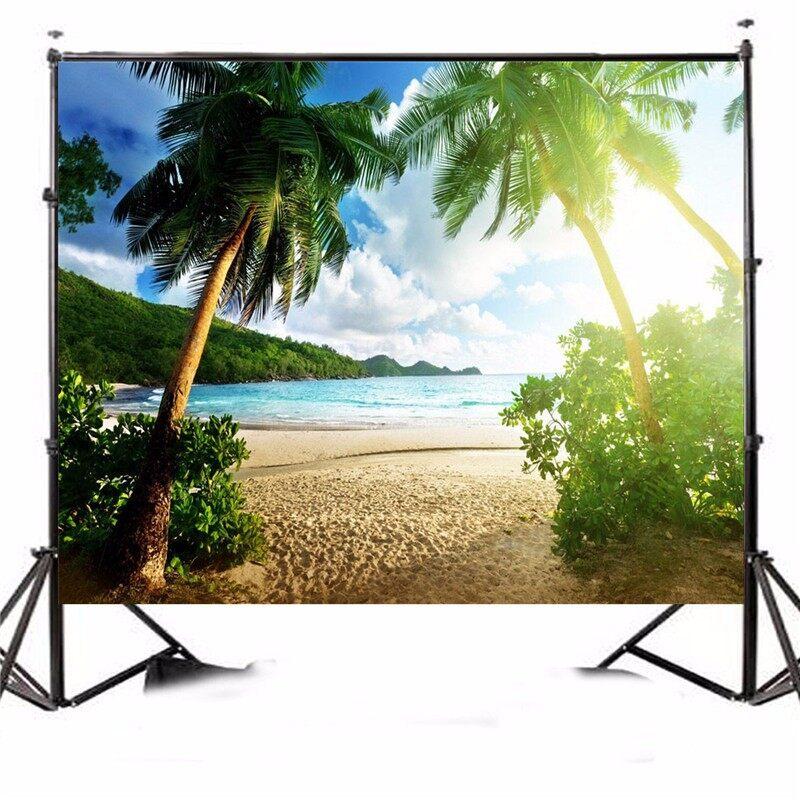 Lighting and Studio Equipment - 7x5FT Seaside Beach Palm Vinyl Studio Photography Backdrop Photo Background Prop - Camera Accessories