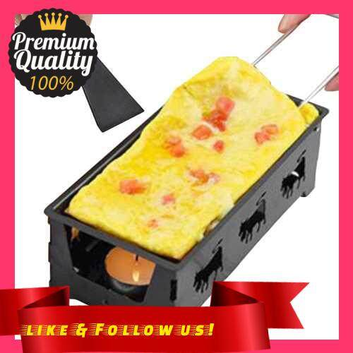 People\'s Choice Non-Stick Raclette Grill Set Cheese Melter Pan with Spatula Foldable Wooden Handle Melted Cheese Raclette Carbon Steel Kitchen Gadgets (Black)