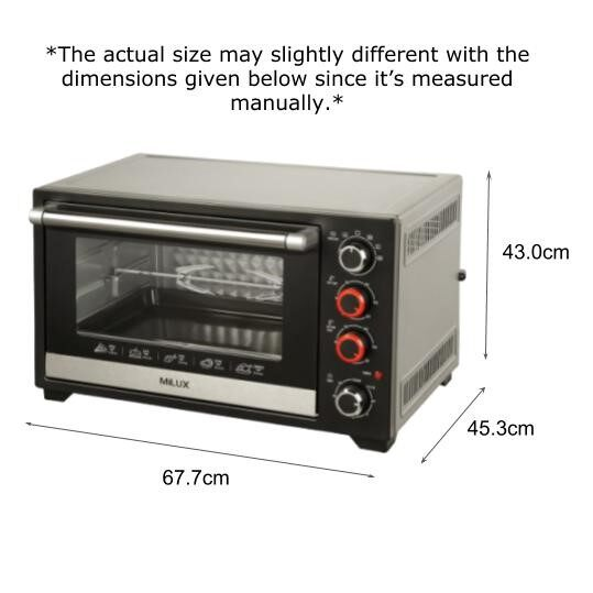 Milux Stainless Steel 45L Electric Oven MOT-DS45 Ketuhar Elektrik