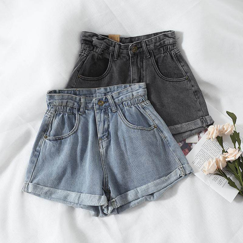 (PRE ORDER) KOREAN CHIC RETRO HIGH WAIST ROLLED DENIM SHORTS