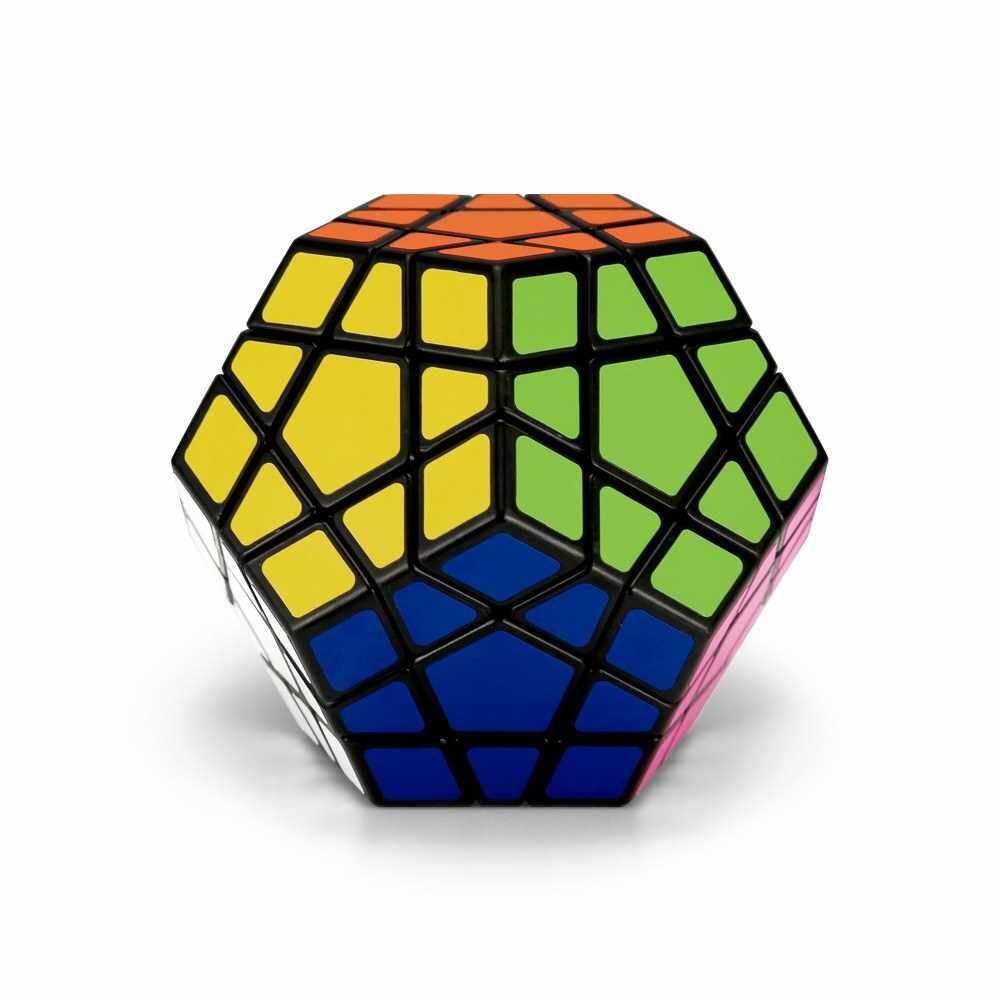 Megaminx Speed Cube Magic Cube Dodecahedron Sticker Cube Puzzle Cube for Beginners Kids (Black)