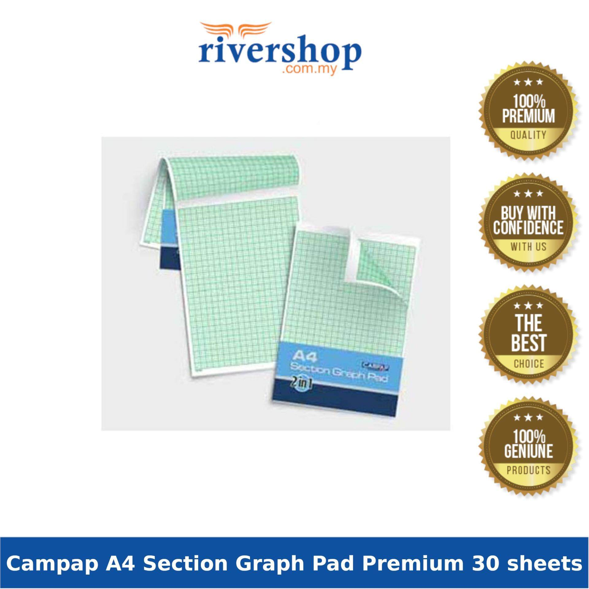 Campap CA3424 A4 Section Graph Pad Premium 1mm & 2mm ( 2 in 1 ) 30 sheets
