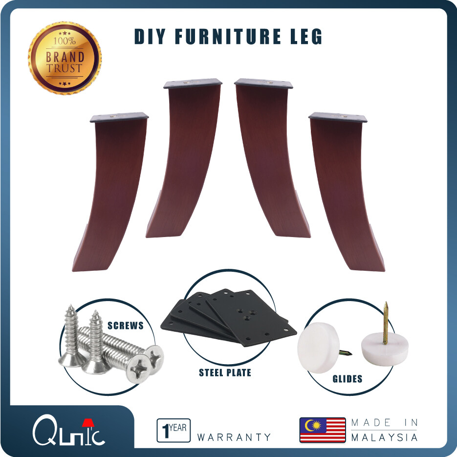 Qunic 6 inch Wood Furniture Leg DIY Bare Natural Walnut Finished Wood Sofa Bed Pack of 4 Square